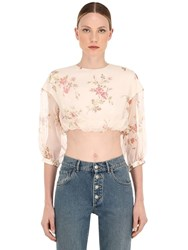 Brock Collection Floral Printed Silk Organza Crop Top Multicolor