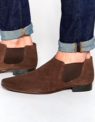 Asos Chelsea Boots In Brown Suede With Low Height Brown