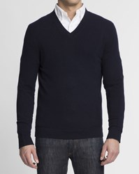 Theory Navy Blue 100 Cashmere V Neck Donners Jumper