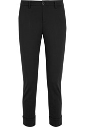 7 For All Mankind Cropped Stretch Knit Slim Leg Pants Black