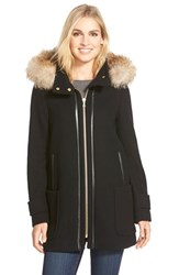 Women's Trina Turk 'Allyson' Genuine Coyote Fur Trim Wool Blend Duffle Coat Black