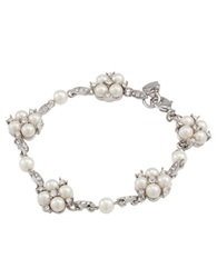 Carolee The Daisy Floral Motif Pearl And Crystal Bracelet Pearl Silver