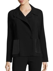 Max Mara Agreste Leather Pocket Jacket Black