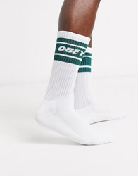 Obey Cooper Ii Socks With Green Band In White