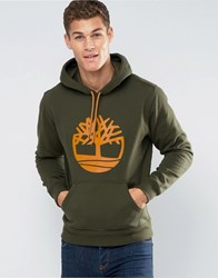 Timberland Overhood Logo Hoodie In Green Forest Night
