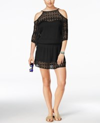 Becca Poetic Cold Shoulder Crochet Cover Up Dress Women's Swimsuit Black
