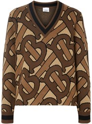 Burberry Monogram Intarsia Wool V Neck Sweater Brown