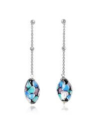 Antica Murrina Veneziana Smeralda Glass Beads W Cubic Zirconia Stearling Silver Earrings Blue