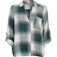 River Island Womens Green Check Bubble Hem Blouse