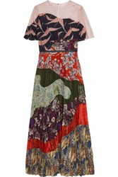 Valentino Lace Paneled Pleated Printed Silk Dress Red
