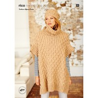 Rico Alpaca Dream Women's Poncho And Hat Knitting Pattern 471