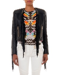 Balmain Leather Fringe Jacket Black