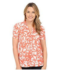 Nydj Short Sleeve Tie Front Top Revolve Ciana Coral Women's Blouse Orange
