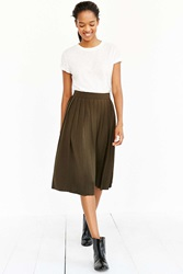 Silence And Noise Silence Noise Silky Pleated Midi Skirt Olive