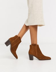 Mango Suede Ankle Boots In Tan Brown