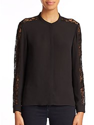 The Kooples Crepe And Lace Long Sleeve Top Black