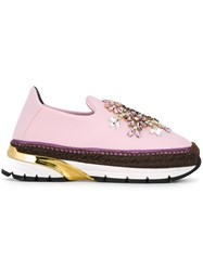 Dolce And Gabbana 'Barcelona' Slip On Sneakers Pink And Purple