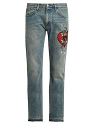 Gucci Panther Applique Slim Fit Jeans Light Blue
