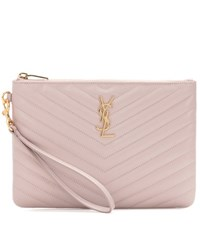 Saint Laurent Monogram Leather Pouch Pink