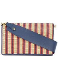 Diane Von Furstenberg Dvf Woven Stripe Shoulder Bag Blue