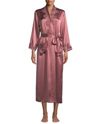 Vivis Katiuscia Lace Trim Long Silk Robe Pink