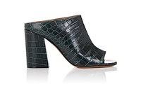 Givenchy Women's Paris Croc Stamped Leather Mules Green