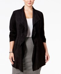 Alfani Plus Size Faux Suede Draped Faux Suede Jacket Only At Macy's Deep Black