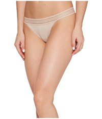 Dkny New Classic Cotton Lace Trim Thong Cashmere Women's Underwear Brown