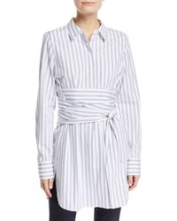Lafayette 148 New York Cordelia Striped Wraparound Waist Blouse Blue