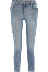 Dl1961 Woman Florence Cropped Distressed Low Rise Skinny Jeans Mid Denim