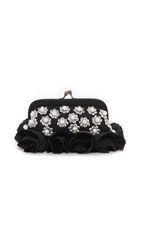 Santi Pearl Studded Clutch Black