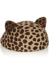Eugenia Kim Caterina Leopard Print Wool Felt Hat Animal Print