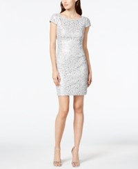 Adrianna Papell Sequin Beaded Lace Dress Silver