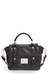 Sole Society 'Mini' Faux Leather Messenger Bag Black
