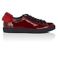 Mr And Mrs Italy Mink Fur Trimmed Patent Leather Sneakers Md. Red