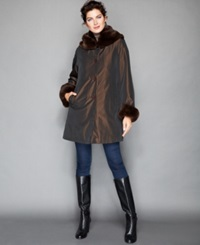 The Fur Vault Sheared Rabbit Fur Lined Coat Brown
