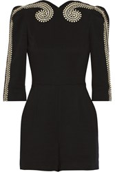 Sass And Bide Two Ships Embellished Crepe Playsuit Black