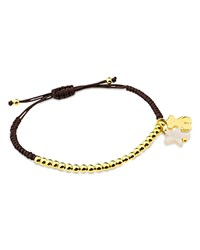 Tous Mother Of Pearl Star And Bear Charm Beaded Cord Bracelet Black And Gold