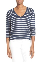 Women's Caslon Stripe V Neck Sweatshirt