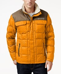 Free Country Men's Camo Puffer Down Jacket Orange Khaki