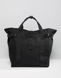 Asos Tote Bag In Black With Strapping Detail Black