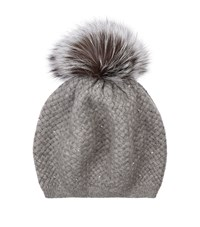 William Sharp Cashmere Crystal Pom Pom Hat Grey