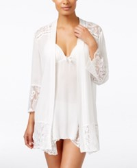 Linea Donatella Flower Child Sheer Lace Trim Kimono Robe Ivory