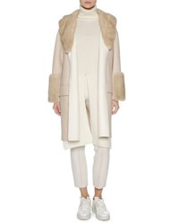 Agnona Relaxed Cashmere Coat With Mink Fur Trim Brown White Brown White