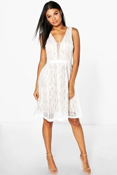 Boohoo Zoe All Over Lace Midi Skater Dress Ivory