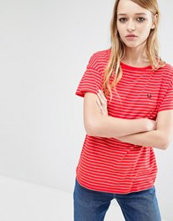Fred Perry Classic Stripe T Shirt Red White