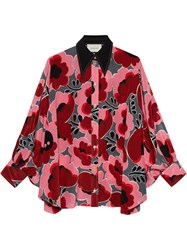 Gucci Poppies Silk Shirt With Bow Pink And Purple