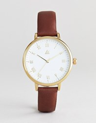 Asos Design Watch With Gold Case In Tan Leather