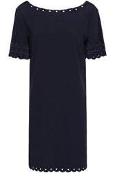 Claudie Pierlot Embroidered Cady Mini Dress Navy