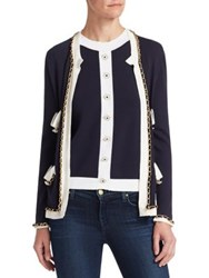 Edward Achour Braid Trim Open Cardigan Pink Black Marine White